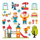 Terrain de jeu d'enfants dans le style plat Images stock