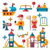 Terrain de jeu d'enfants dans le style plat Photographie stock