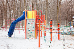 Terrain de jeu d'enfants de Milou en parc d'hiver, Canada Images stock