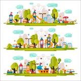 Terrain de jeu d'enfants dessiné dans un style plat Photos libres de droits
