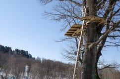 Terrain de jeu de colline de corde de câble le haut glissent vers le bas l'extrémité Image libre de droits