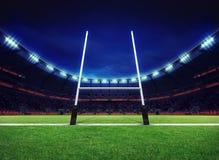 Terrain de jeu de stade de rugby avec le but Images libres de droits