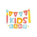 Terrain de jeu de terre d'enfants et signe coloré de promo de club de divertissement avec Garland And Pencil For The jouant l'esp Photographie stock libre de droits