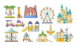 Terrain de jeu de divertissement du ` s d'enfants, parc de récréation Placez pour des jeux du ` s d'enfants illustration de vecteur