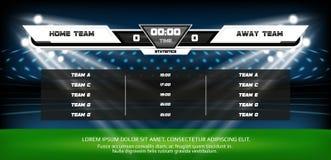 Terrain de jeu du football ou du football avec l'ensemble d'éléments infographic Jeu de sport Projecteur et tableau indicateur de illustration stock