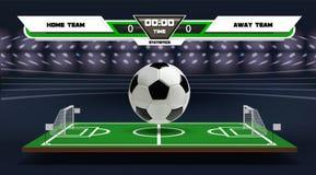 Terrain de jeu du football ou du football avec les éléments et la boule 3d infographic Jeu de sport Projecteur de stade de footba illustration de vecteur