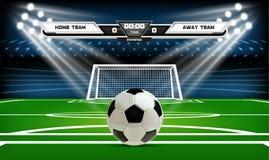 Terrain de jeu du football ou du football avec les éléments et la boule 3d infographic Jeu de sport Projecteur de stade de footba Image libre de droits