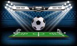 Terrain de jeu du football ou du football avec les éléments et la boule 3d infographic Jeu de sport Projecteur de stade de footba illustration libre de droits