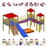 Terrain de jeu du ` s d'enfants avec la glissière, l'échelle accrochante, et un bac à sable Les projections différentes de différ Images libres de droits