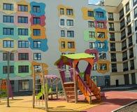 Terrain de jeu du ` s d'enfants dans un complexe résidentiel moderne images stock