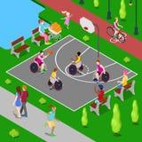 Terrain de jeu isométrique de basket-ball Handicapés jouant le basket-ball en parc Vecteur Photos stock
