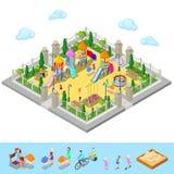 Terrain de jeu isométrique d'enfants en parc avec des personnes, Sweengs, carrousel, glissière et bac à sable Photo stock