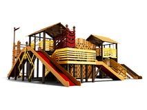 Terrain de jeu récréationnel pour des enfants avec le divertissement différent 3d de sports rendre sur le fond blanc avec l'ombre illustration de vecteur