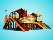 Terrain de jeu récréationnel pour des enfants avec le divertissement différent 3d de sports rendre sur le fond bleu avec l'ombre illustration stock