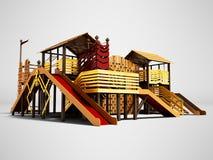 Terrain de jeu récréationnel pour des enfants avec le divertissement différent 3d de sports rendre sur le fond gris avec l'ombre illustration stock
