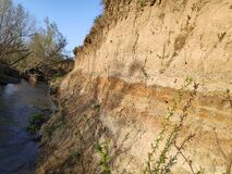 Free Terrain Geology Sedimentary Layered Rock And Soil With Little Stream Royalty Free Stock Photo - 178666645
