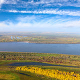 Terrain with great river in autumn, top view Royalty Free Stock Image