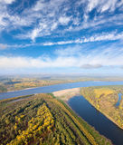 Terrain with great river in autumn, top view Stock Images