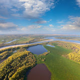 Terrain with great river in autumn, top view Stock Image