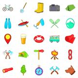 Terrain icons set, cartoon style Stock Images