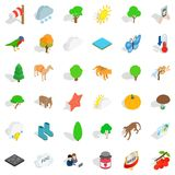 Terrain icons set, isometric style. Terrain icons set. Isometric set of 36 terrain vector icons for web isolated on white background Royalty Free Stock Images