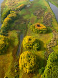 Terrain with lakes in autumn, top view Royalty Free Stock Image