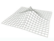 Terrain landscape, wireframe 3D illustration. The render of a terrain using a regular grid Stock Photo