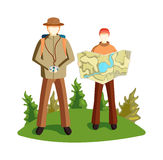 Terrain orientation vector illustration. Concept of tourists couple with GPS icons map terrain orientation. Navigation on mountains terrain orientation. Global Stock Photo