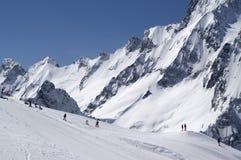 Terrain park. Caucasus Mountains, ski resort Dombay royalty free stock photo