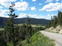 Terrain through the ranch lands. Travelling on the west side to go to Quesnel, BC Royalty Free Stock Images