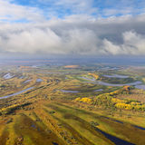 Terrain with river in autumn, top view Royalty Free Stock Images