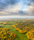 Terrain with river in autumn, top view Stock Images