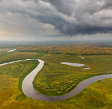 Terrain with river in autumn, top view Stock Image