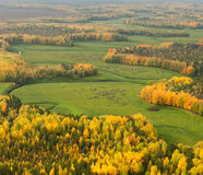 Terrain with river in autumn, top view Royalty Free Stock Photography