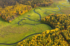 Terrain with river in autumn, top view Royalty Free Stock Photo