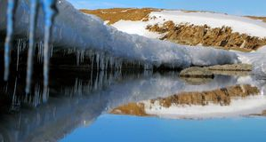 Panorama of the icy coast, icicles and a small lake stock images