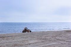 Terrain vehicle at the beach. Terrain vehicle, quad tour car at the beach Stock Photos