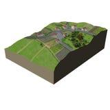 Terrain village. Digital illustration of a Terrain village Stock Images