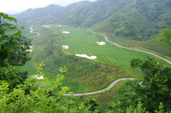 Terrains de golf, et l'herbe verte Photos libres de droits