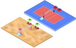 Terrains de jeu isométriques de volleyball et de volleyball de plage avec l'endroit de filet et de juges illustration libre de droits