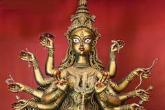 Terrakotta Durga-Idolkupferendnahaufnahmeporträt Stockfoto