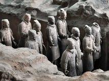 Terrakottaarmé Lerasoldater av den kinesiska kejsaren royaltyfri fotografi