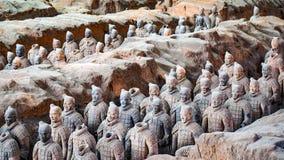 Terrakottakrigare i Xian, Kina Arkivfoton