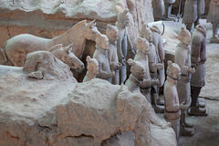 Terrakottakrigare i Xian, Kina Arkivfoto