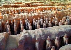 Terrakottakrigare, Xi'an, Kina Arkivbild