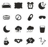 Terraplén de los iconos del sueño o el dormir a pulso Imágenes de archivo libres de regalías
