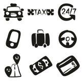 Terraplén de los iconos del taxi a pulso ilustración del vector