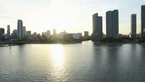 Terraplén de Miami de la puesta del sol almacen de video