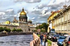 Terraplén del río de Moika y catedral del St Isaac stock de ilustración