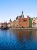 Terraplén del río de Motlawa, Gdansk Imagen de archivo